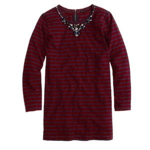 J.Crew Factory Striped Embellished Necklace Top